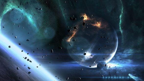 Обои Вокруг планеты летают метеоритные осколки и спутник, автор работы Jeff Michelmann (Sapphire Blue / Темно-фиолетовый)