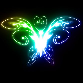 Обои Светящиеся разноцветная бабочка на черном фоне
