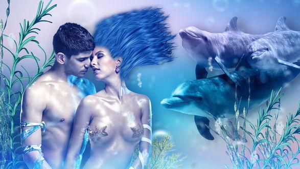 Обои Обнаженные мужчина и женщина под водой рядом с дельфинами