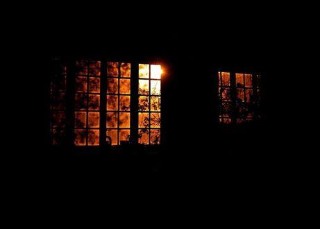 Обои В окне горит свет и на окнах стоят цветы