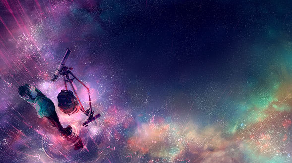 Обои Парень с телескопом на поверхности воды под дождем