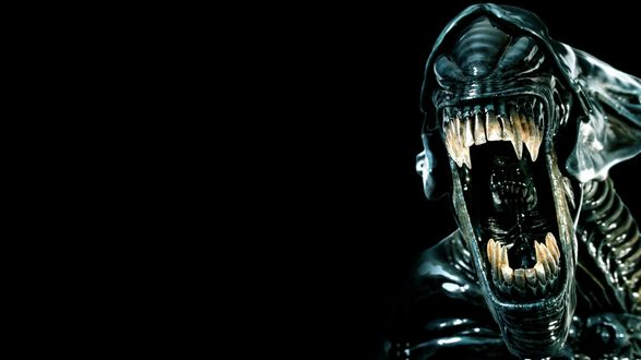 Обои Инопланетное существо, персонаж фильма Чужой, широко раскрыл зубастую пасть