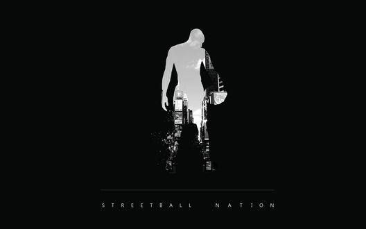Обои Силуэт мужчины с мячом, на котором видна улица города (Nation streetball / Нация стритболла)