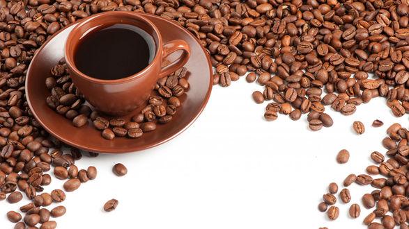 Обои Чашка кофе стоит на блюдце среди обжаренных кофейных зерен