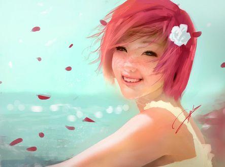 Обои Улыбающаяся девушка с красными волосами, by Jiyu-Kaze