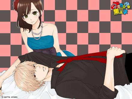 Обои Shinohara Erika / Шинохара Эрика и Sata Kyouya / Сата Кея из аниме Ookami Shoujo to Kuro Ouji / Волчица и черный принц
