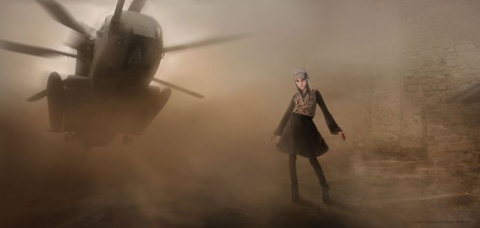 Обои Девочка в темной одежде, стоящая возле кирпичной стены в клубах пыли, поднятой садящимся сзади вертолетом, автор Алексей Макаренок