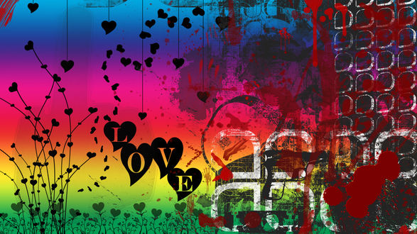 Обои На цветном фоне сердечки и надпись LOVE (любовь)