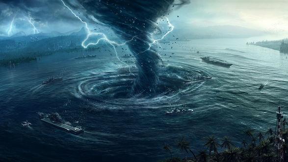 Обои Смерч образовал на поверхности воды воронку, куда затягивает корабли