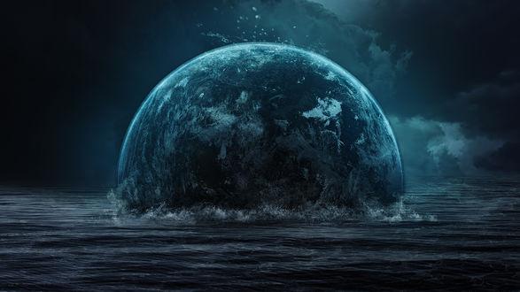 Обои Неизвестная планета в виде шара упала в воды океана
