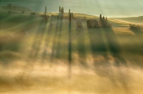 Обои Долина в солнечных лучах и легком тумане, фотограф Krzysztof Browko