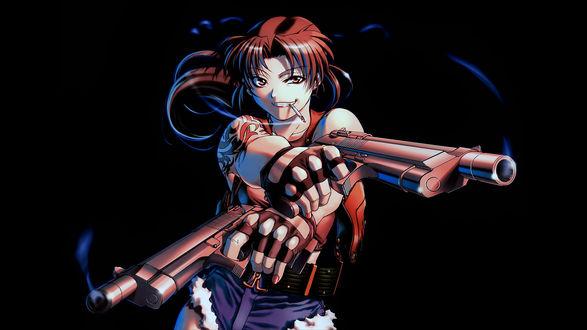 Обои Revy / Реви (Ребекка) с двумя пистолетами в руках, персонаж из аниме Black Lagoon / Пираты «Черной лагуны», art by Hiroe Rei