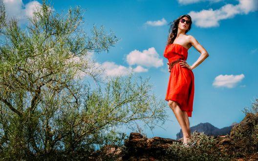 Обои Девушка в красном платье и очках стоит на фоне неба и деревьев