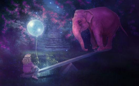 Обои Светловолосая девочка, держащая в руке воздушный шарик, сидящая на одном конце деревянной доски качелей, на другом стоит розовый слон на фоне ночного, звездного неба