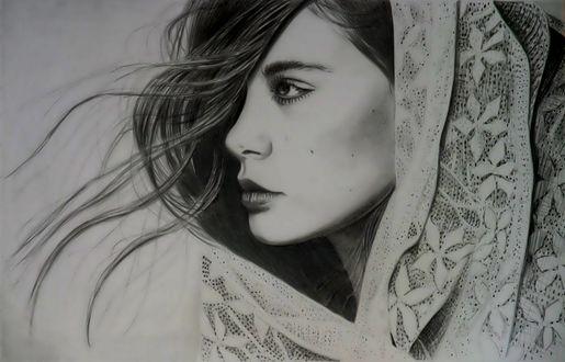 Обои Портрет девушки в профиль, by althea