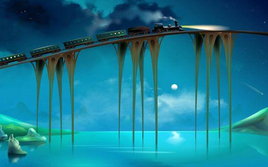 Обои Поезд на мосту над рекой