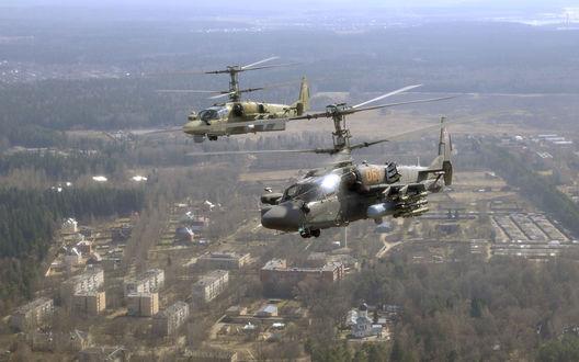 Обои Два вертолета КА-52