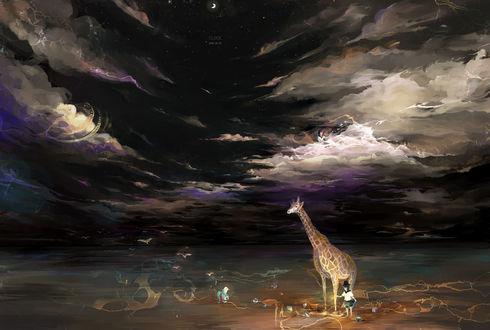 Обои Маленькая девочка и жираф, автор Sarnath