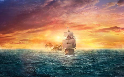 Обои Парусник, плывущий по морю мимо острова в форме черепа, с растущими на нем пальмами на фоне заката на вечернем небосклоне с разноцветными облаками