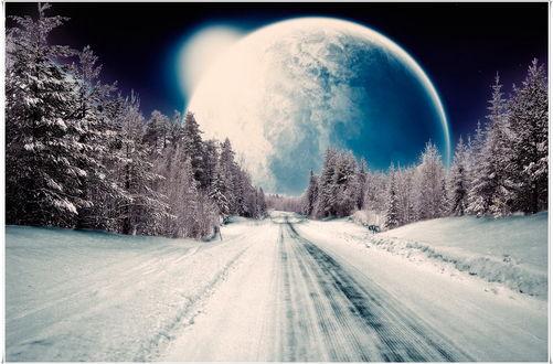 Обои Планета, взошедшая в ночном, звездном небе над заснеженной дорогой, проходящей через лесопосадку, автор Lapland