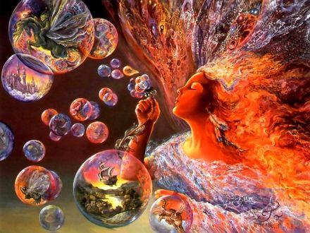 Обои Девушка пускает мыльные пузыри в которых появляются сказочные сюжеты