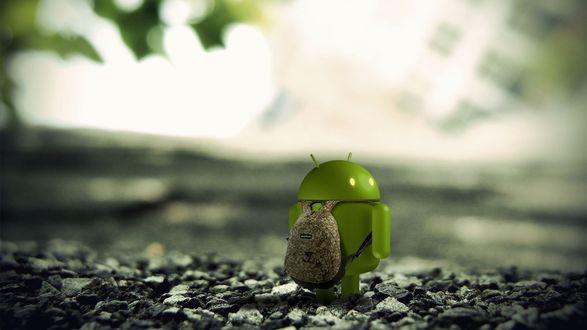 Обои Андроид с рюкзачком