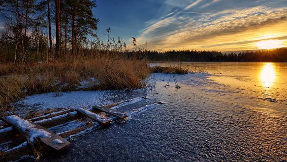 Обои Солнечные лучи на утреннем небосклоне с перистыми облаками осветили берег водоема, покрытого тонким слоем льда морозного, осеннего утра, автор Heger (Roman)