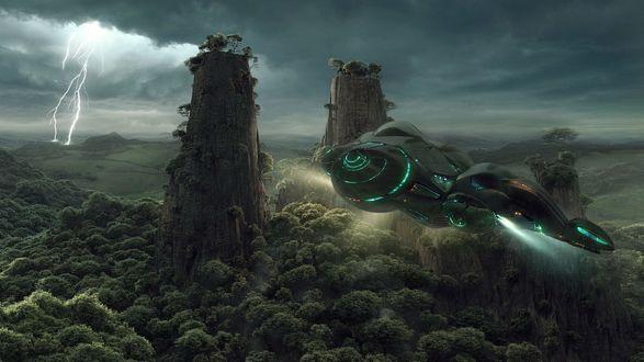 Обои Корабль на чужой планете