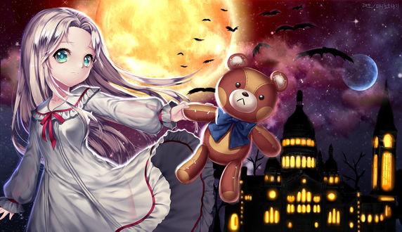 Обои Девушка с плюшевым медведем, art by laejjo