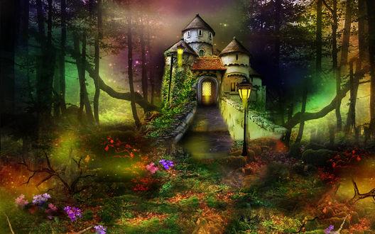 Обои Сказочный дворец с каменными башнями, с лестницей, ярко горящими фонарями на входе, окруженный деревьями, разноцветными огнями, мелькающими среди леса, ярких цветов, растущих вокруг