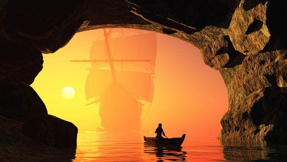 Обои Мужчина, заплывающий на лодке в каменный, морской грот на фоне стоящего в ослепительных, солнечных лучах морского, парусного фрегата