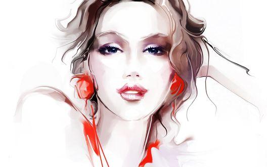 Обои Нарисованная девушка с красными сережками
