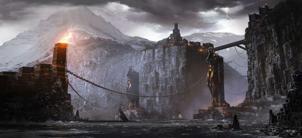 Обои для рабочего стола Концепт-арт к игре Dragon Age 2, город Киркволл