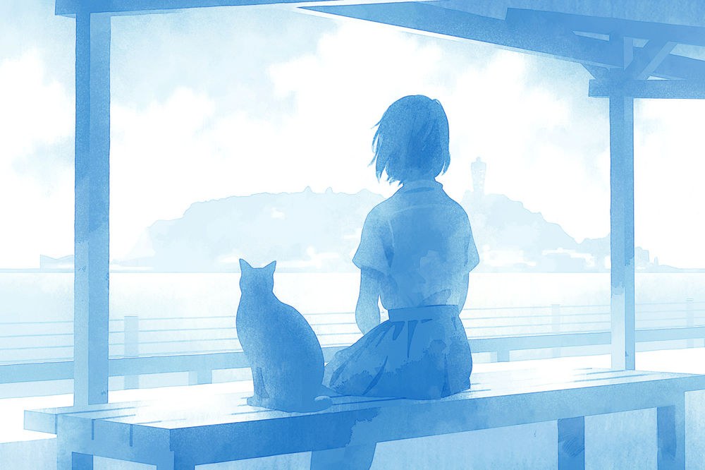 Обои для рабочего стола Девушка с кошкой сидят на лавочке и смотрят на море, by namito111