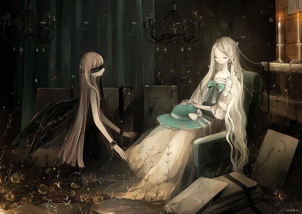 Обои для рабочего стола Перед девушкой, седящей в кресле, стоит на коленях девушка-ангел