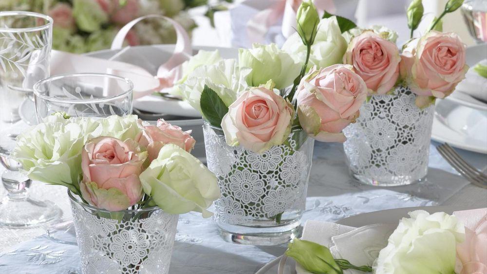 Свадебные цветы для украшения стола своими руками
