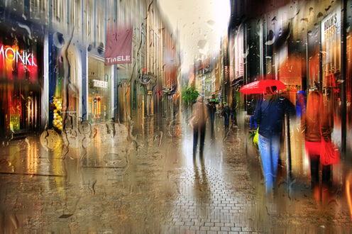 Обои Люди, идущие под зонтами, под сильным дождем по городским улицам, автор Александр Атоян