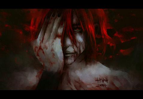 Обои Окровавленная девушка приложила руку к лицу, art by NanFe