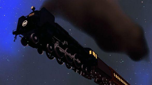 Обои Поезд летит в синем небе, с развевающимся назад черным дымом с трубы и освещенными окнами в вагонах