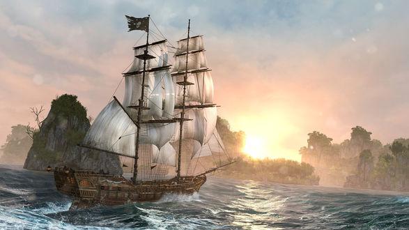 Обои Парусный фрегат, подплывающий к скалистому берегу морской бухты с растущими на скалах деревьями на фоне ослепительных лучей восходящего, утреннего солнца