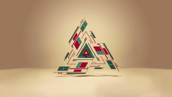 Обои Абстракция из разноцветных треугольников