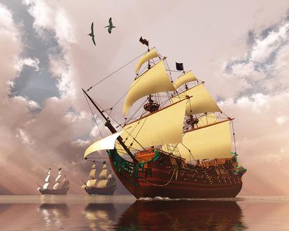 Обои Старинные парусные фрегаты, плывущие по морю на фоне пасмурного неба и парящих в воздухе чаек