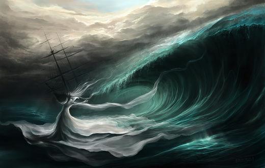 Обои Корабль попавший в шторм, работа The Sovereign of Storms / повелитель штормов, by Procrust