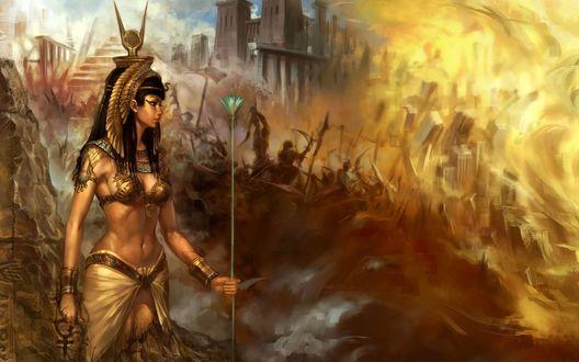 Обои Царица Клеопатра на фоне битвы с огненным смерчем