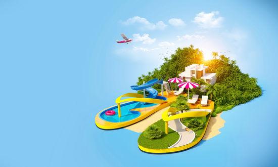 Обои Небольшой участок песчаного берега с ярко-зелеными деревьями и кустарником, двухэтажным коттеджем для отдыхающих, двух площадок для отдыха в форме сланцев с расположенными на них бассейном и местом для прогулок, парящим в воздухе в ярких солнечных лучах и пролетающим небольшим, пассажирским самолетом