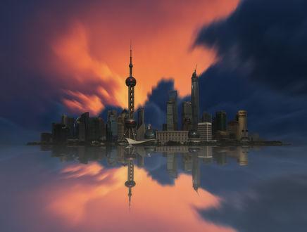 Обои Остров застроенный небоскребами и башнями с розовым небом и отражением в воде