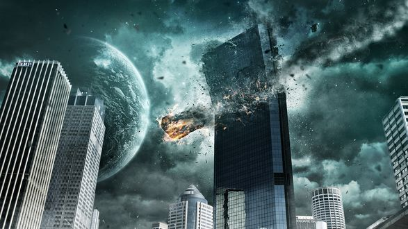 Обои Метеорит летит на землю разрушая многоэтажное здание, в небе видна другая планета
