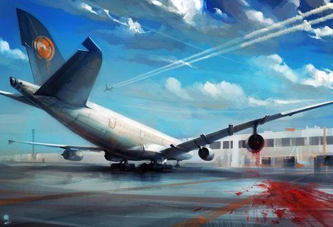 Обои Самолет с повреждением в двигателе, by haryarti