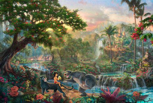 Обои Маугли Багира и Балу в джунглях