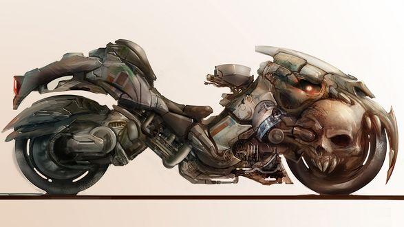 Обои Фантастический мотоцикл в виде мистического животного с черепами, зубами, глазами, когтями, лапами стоит на площадке